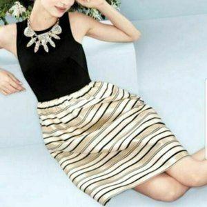 J Crew Fit Flare Black Bodice Gold Striped Dress